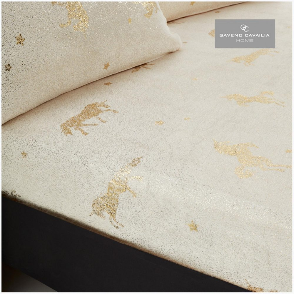 11154631 unicorn star foil fitted sheet double cream 1 1
