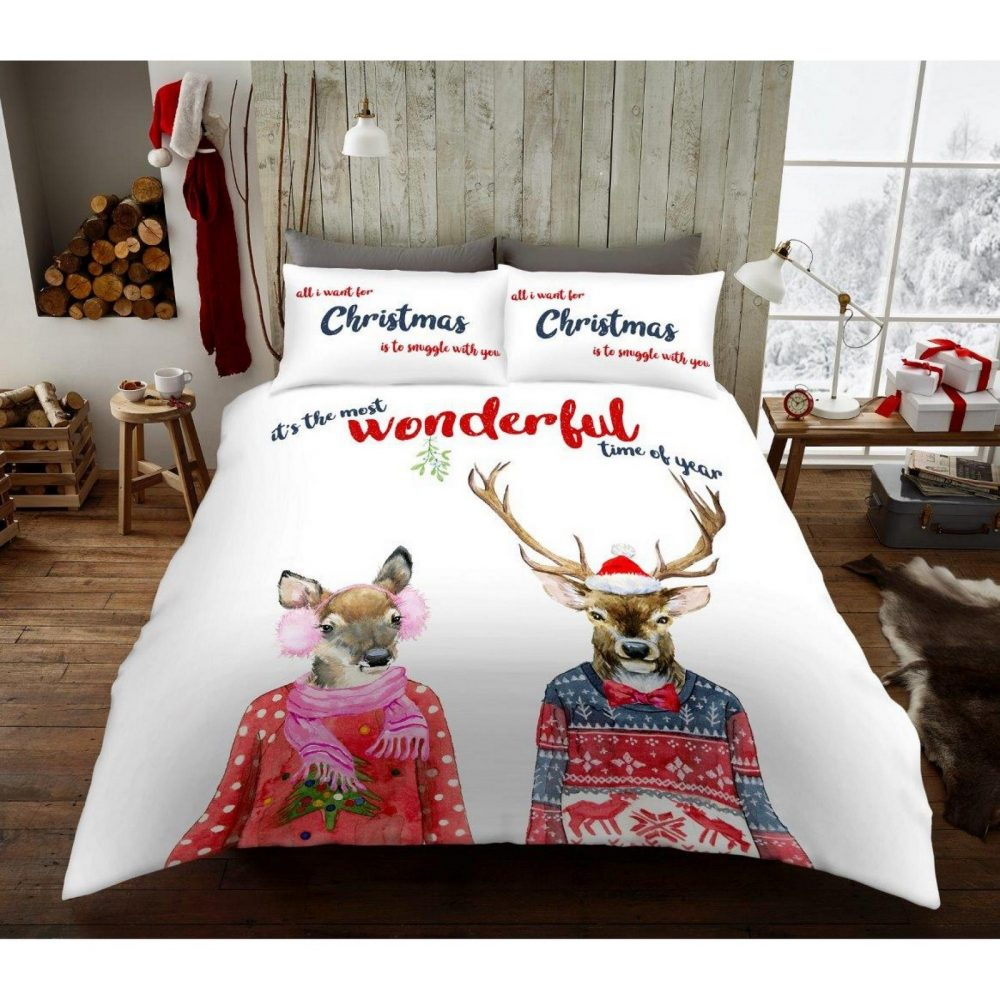 11156291 xmas duvet set stags in jumper double 1 2
