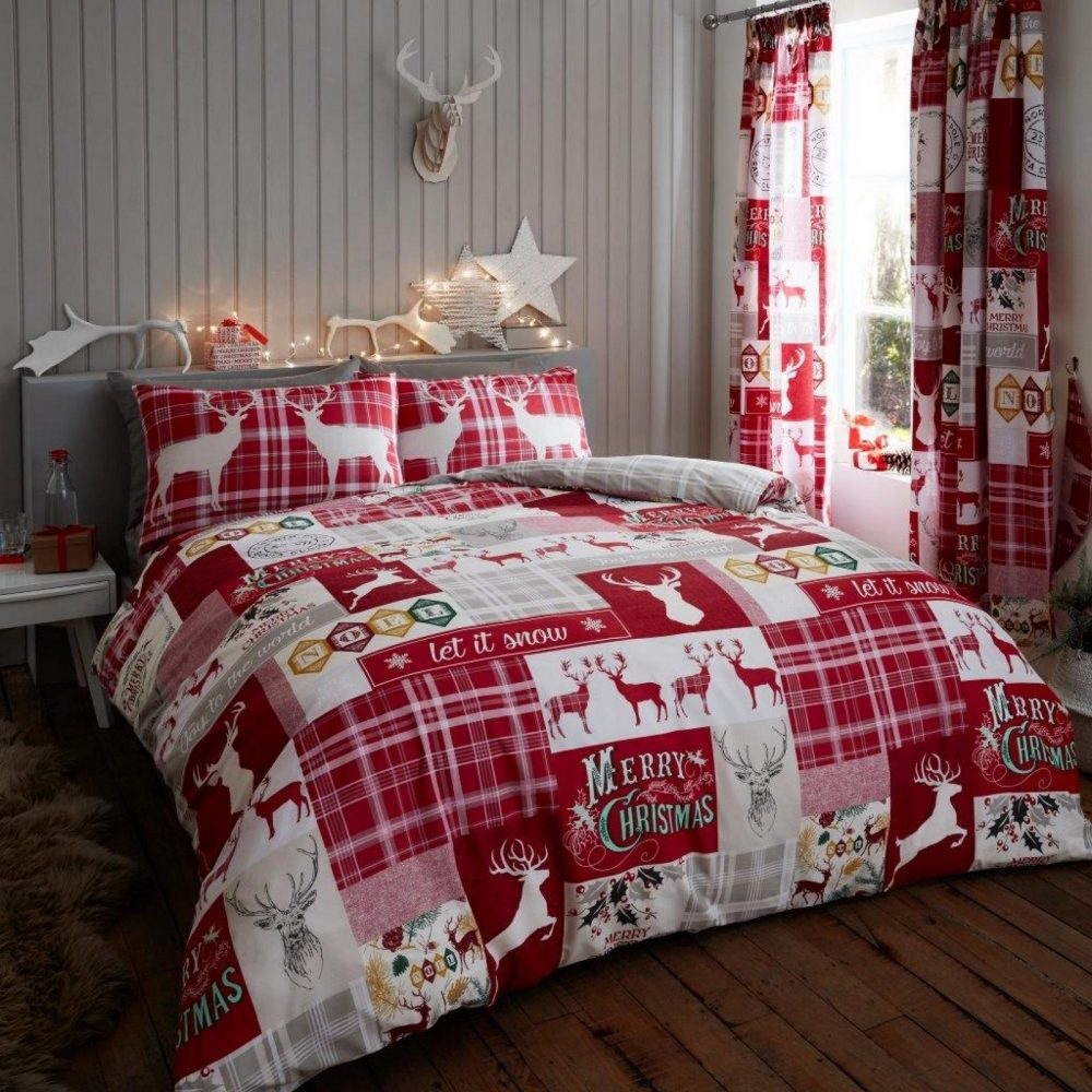 11156680 xmas duvet set xmas patchwork stag double red 1 2