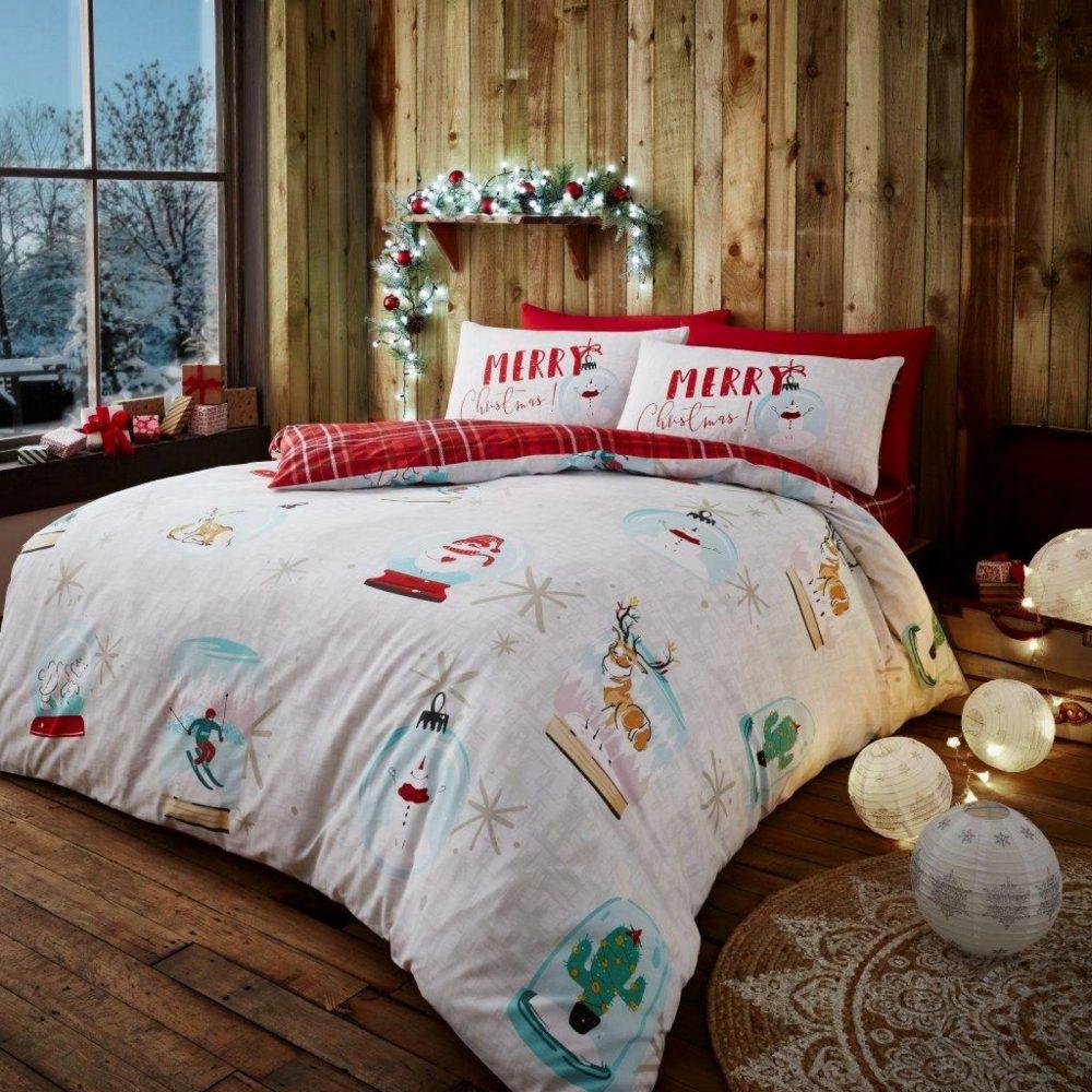 11156710 xmas duvet set xmas snow globe double white red 1 2