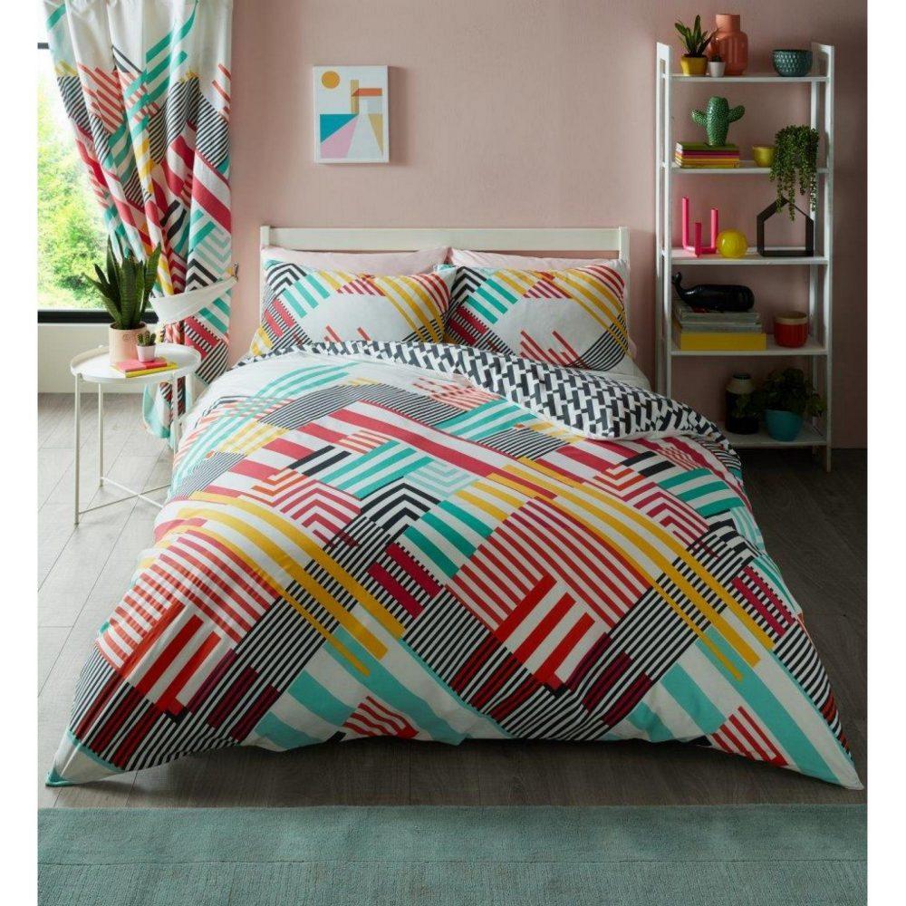 11157137 printed duvet set geo stripe double bright 1 2