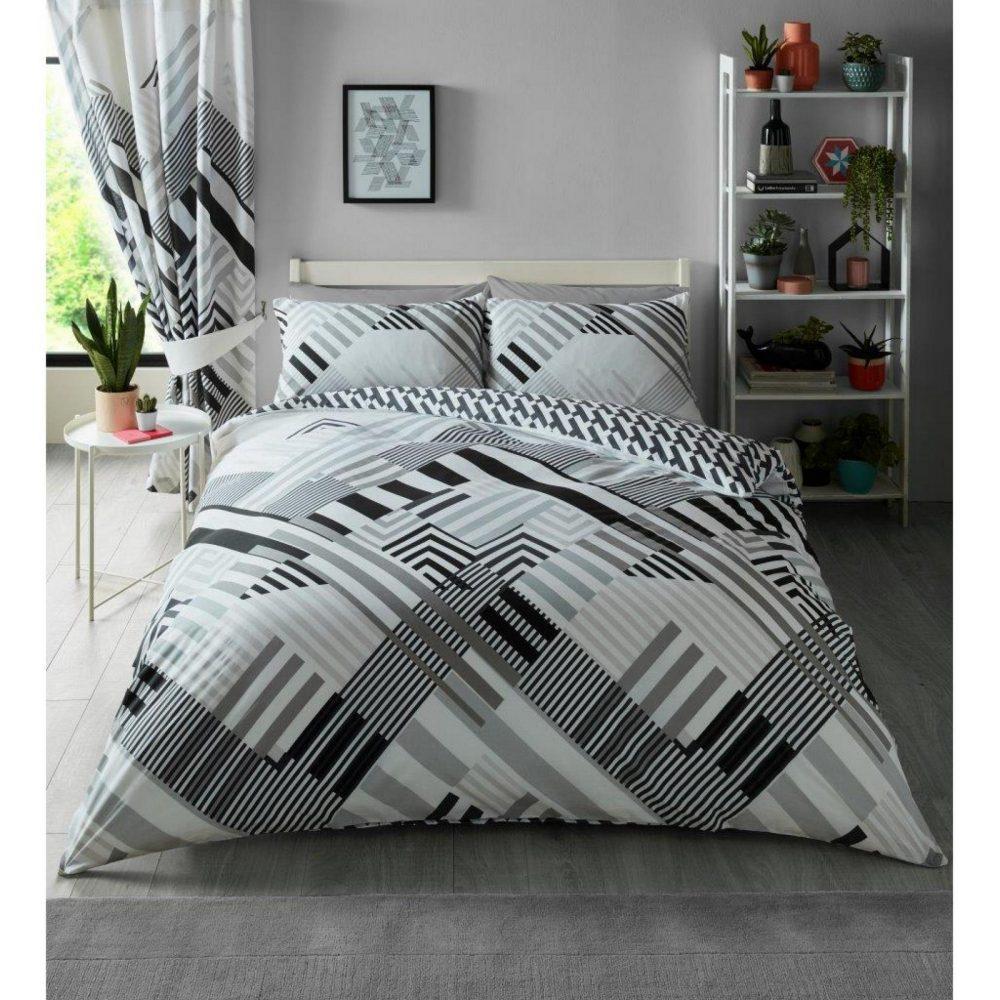 11157168 printed duvet set geo stripe double grey 1 1
