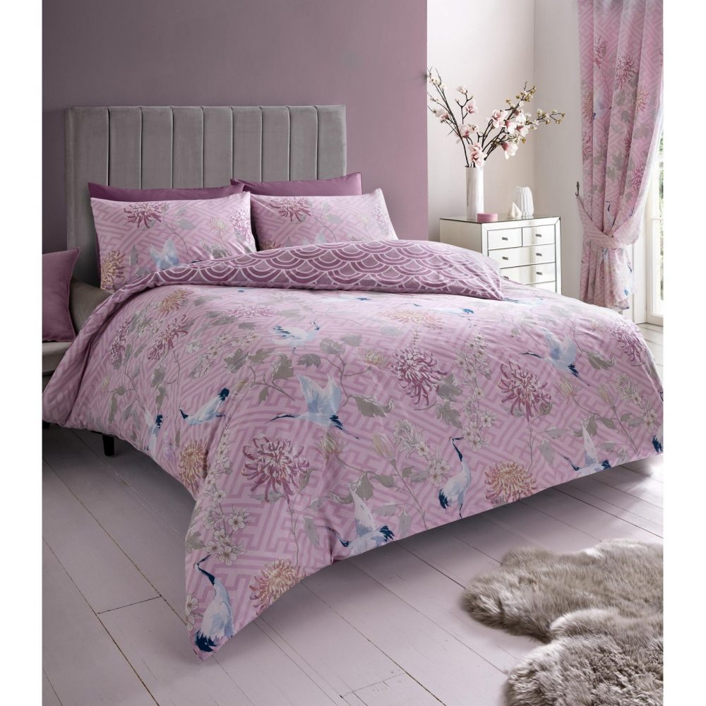 11157199 printed duvet set jasmine double pink mauve 1 2