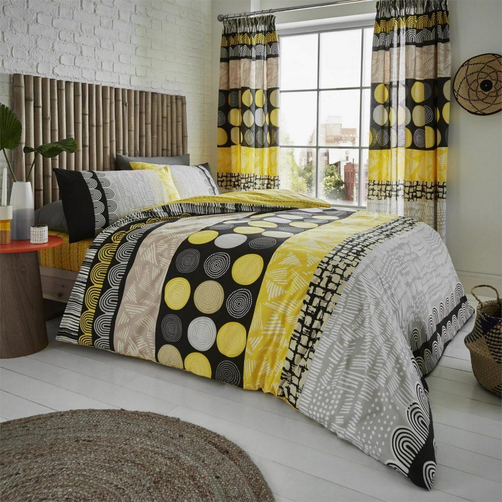 11157311 printed duvet set anouk double mustard 1 1