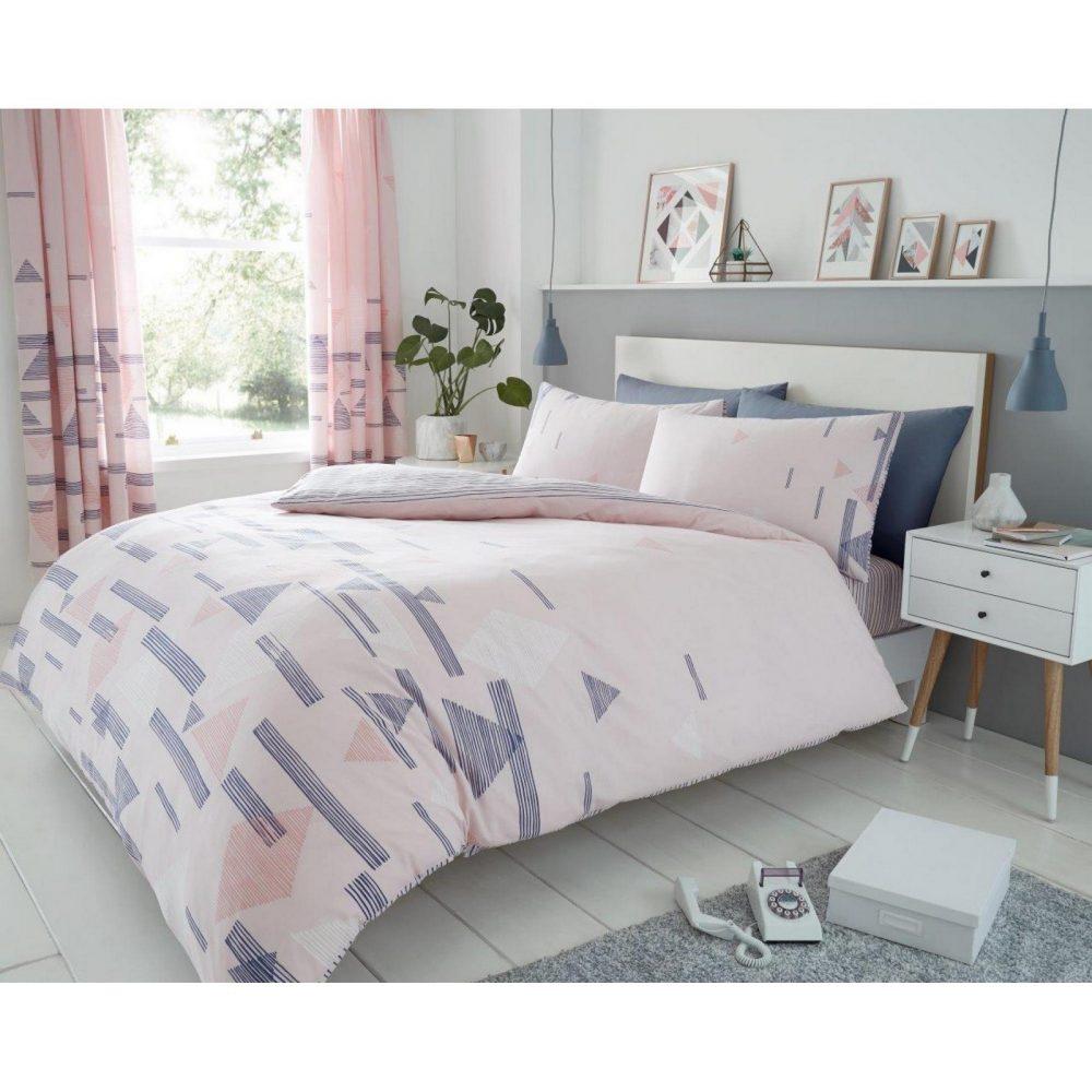 11159315 printed duvet set benton double pink 1 1