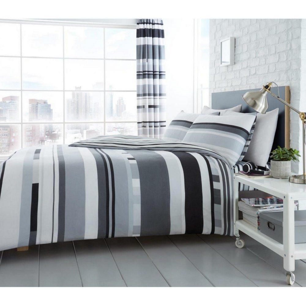 11160533 printed duvet set chester stripe double mono 1 1