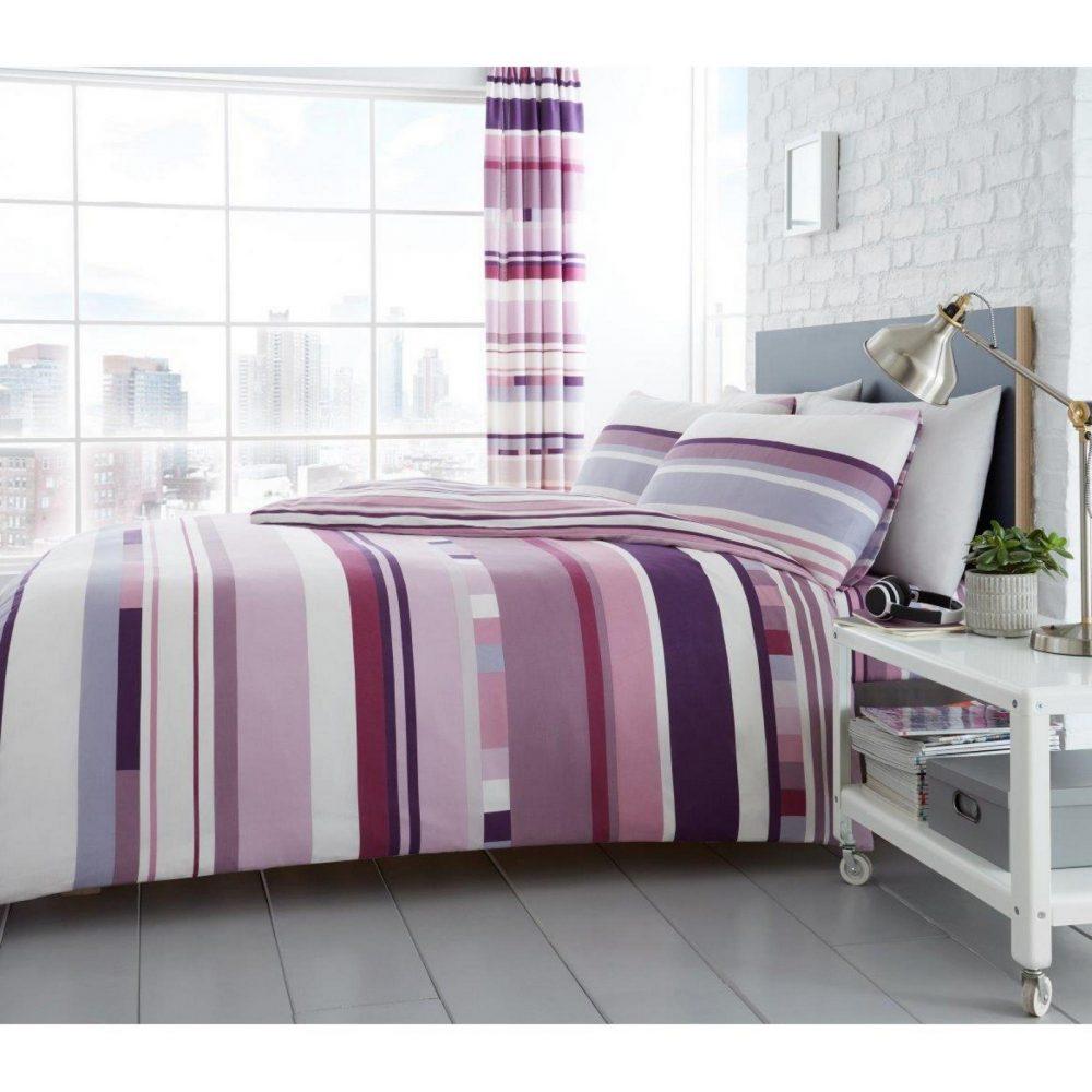 11160595 printed duvet set chester stripe double purple 1 1
