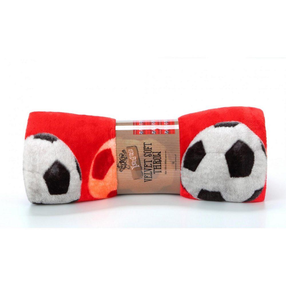 11163626 kids printed throw 110x140 football red 1 1