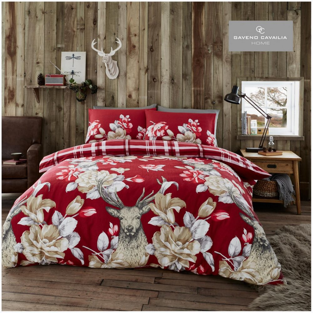 11164234 flannel duvet set laura stag double red 1 3