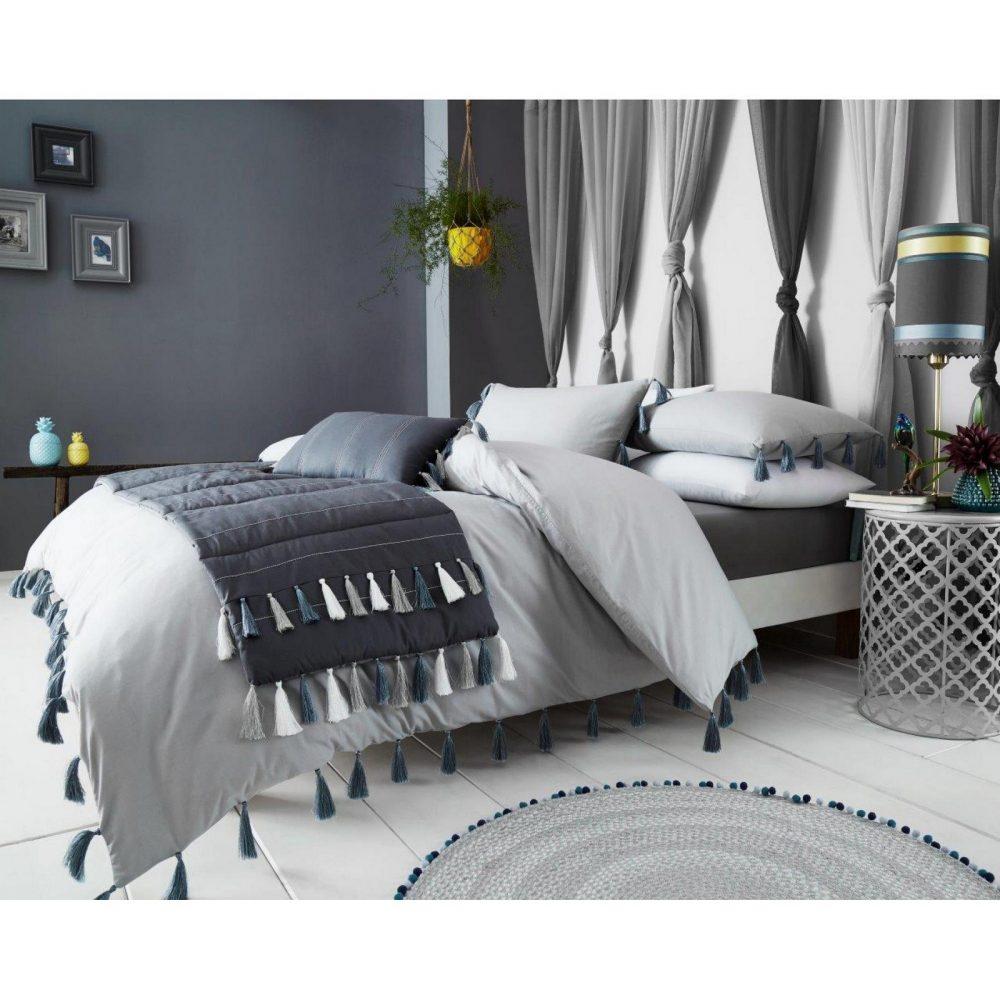 11164500 duvet set tassle double grey 1 2