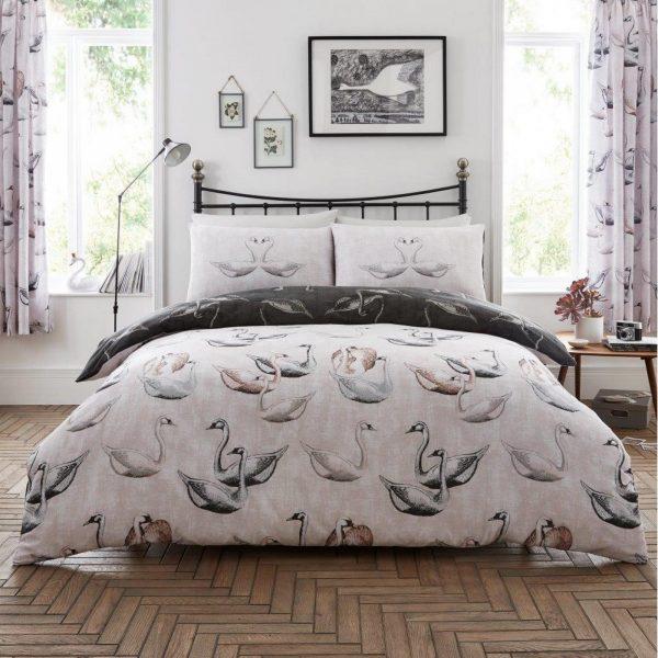 11164876 printed duvet set swan double pink grey 1 2