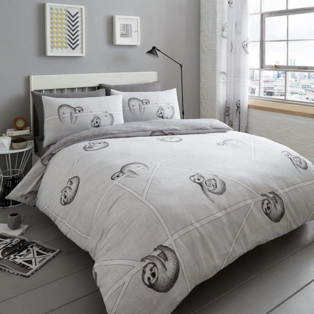 11165019 printed duvet set sloth double grey 1 2