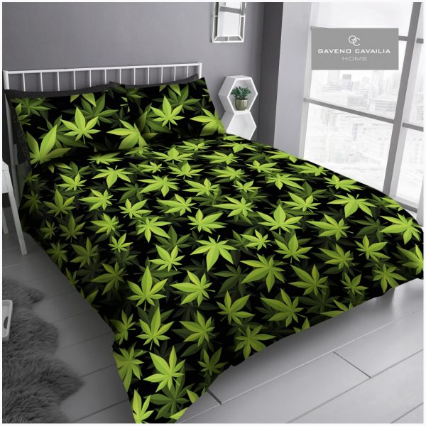 11165361 printed duvet set leaf double black green 1 2