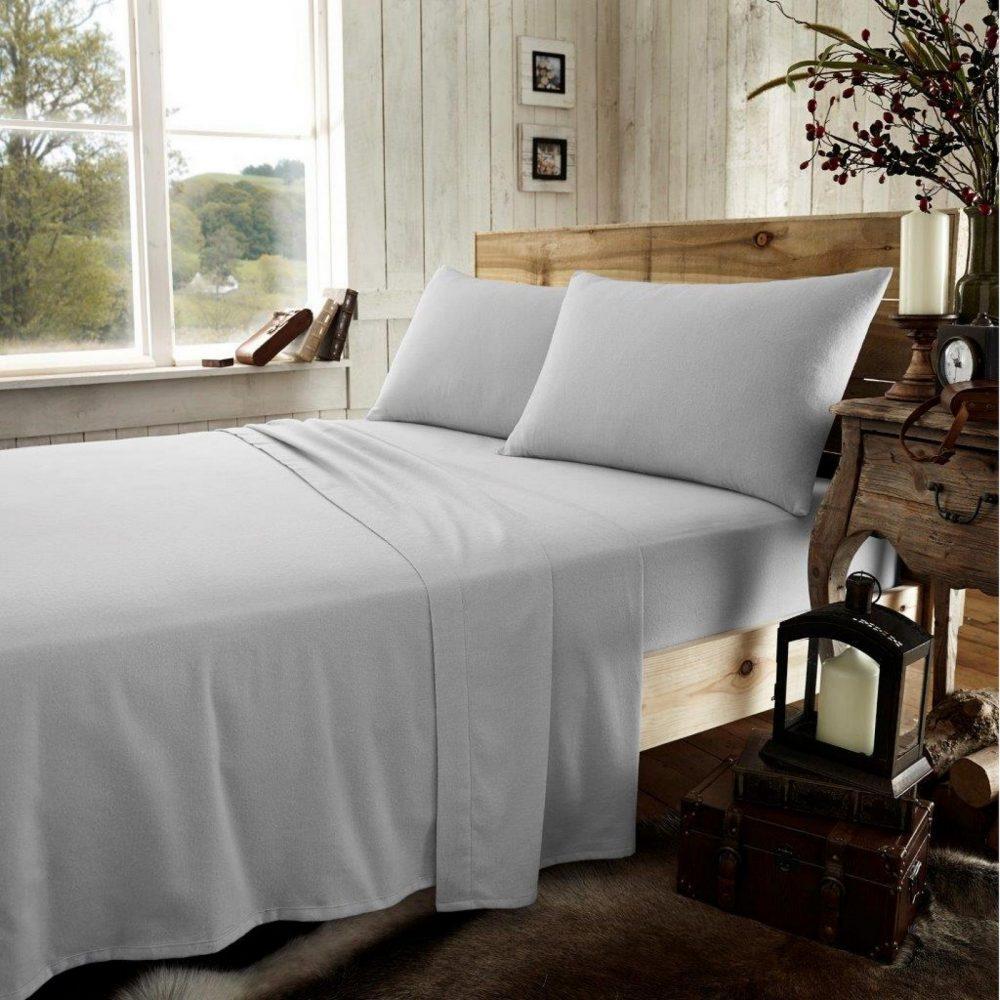 11165934 flannel plain sheet set double grey 1 2