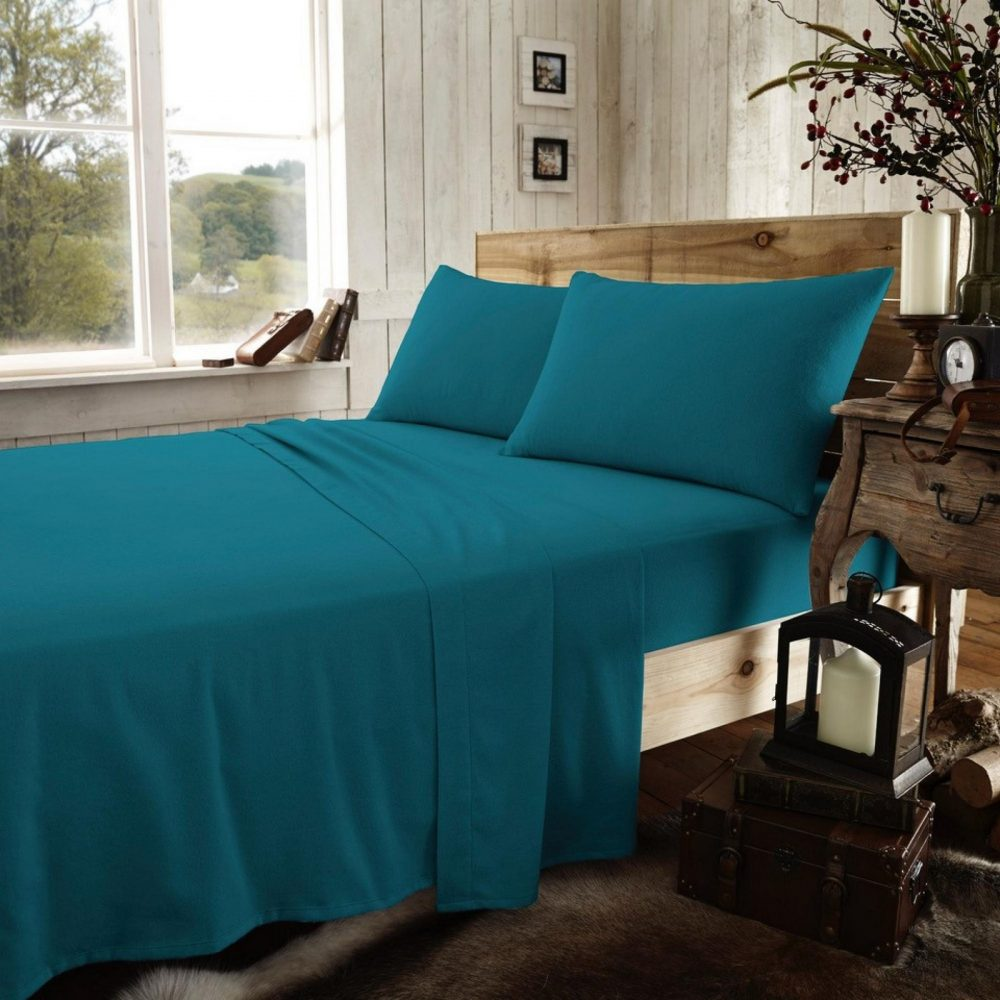11166337 flannel plain fitted sheet double teal 1 2