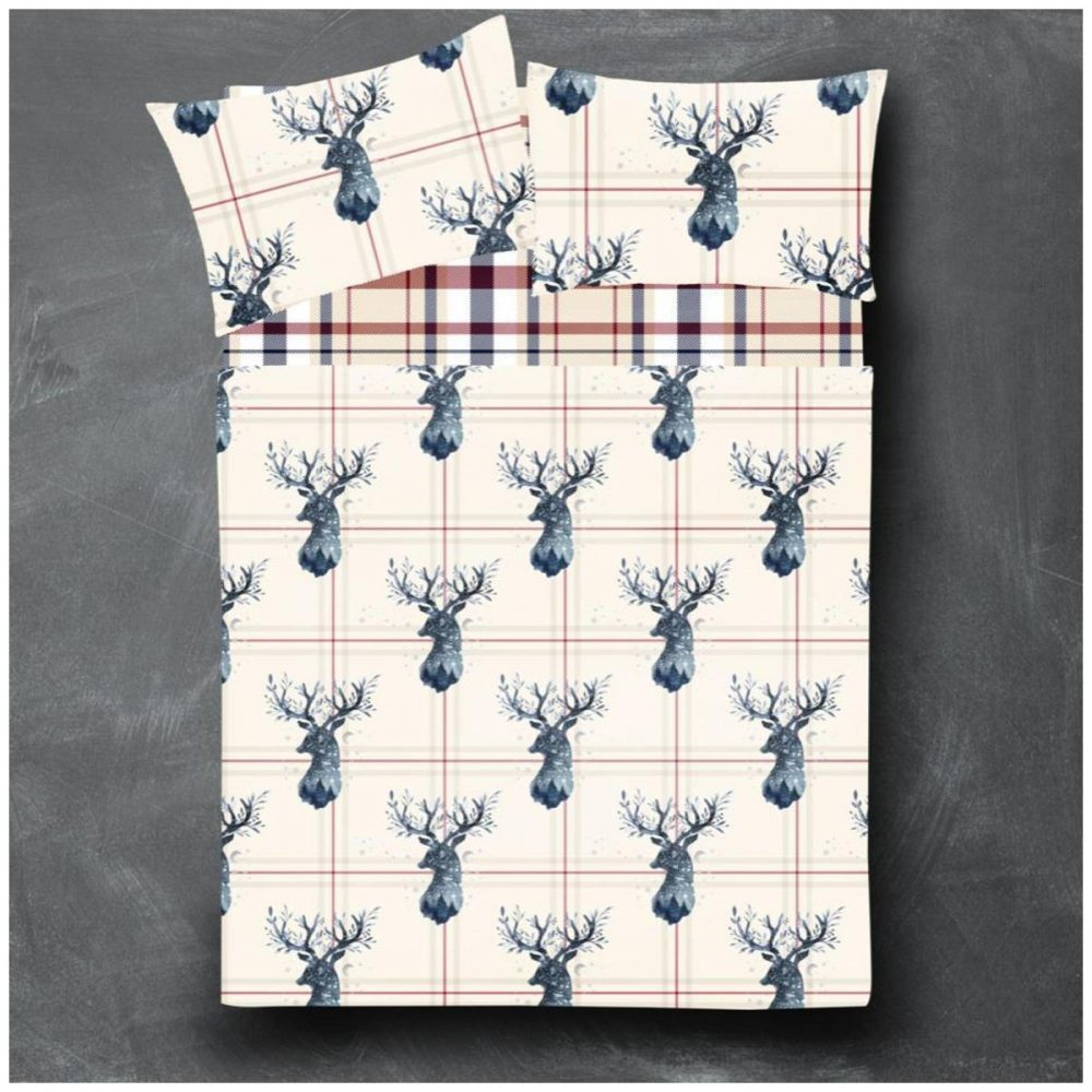 11166924 flannel sheet set heritage check stag double navy 1 2