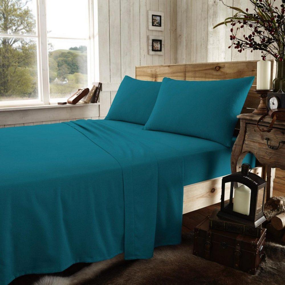 11169604 flannel plain pillow case teal 1 2