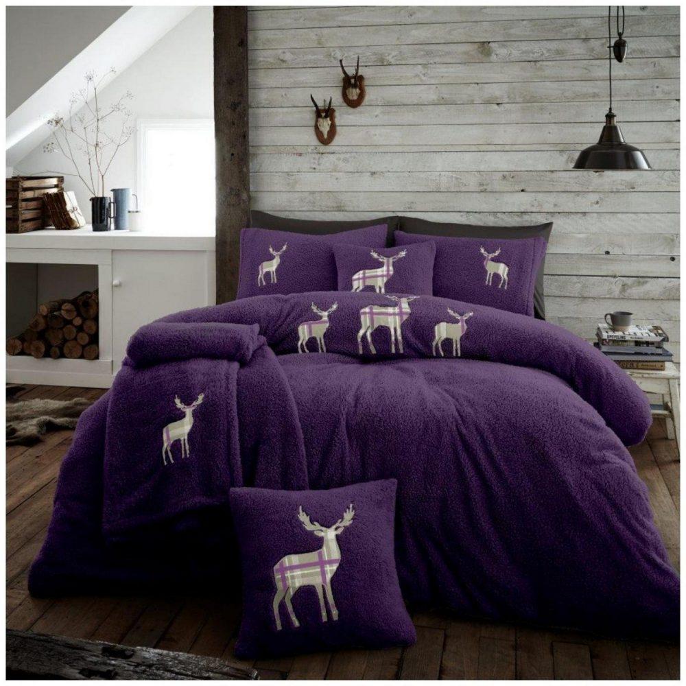 11356684 emb teddy stag duvet set double purple 1 2