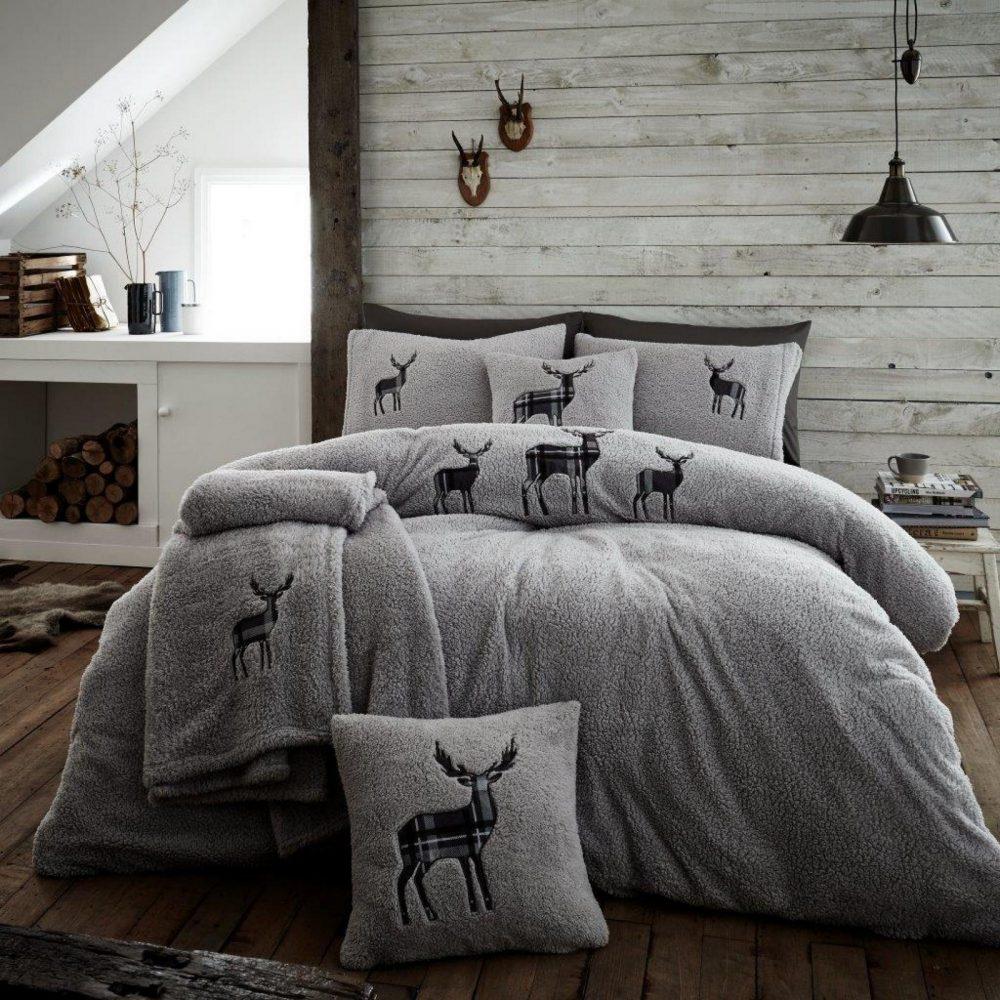 11356745 emb teddy stag duvet set double silver 1 2