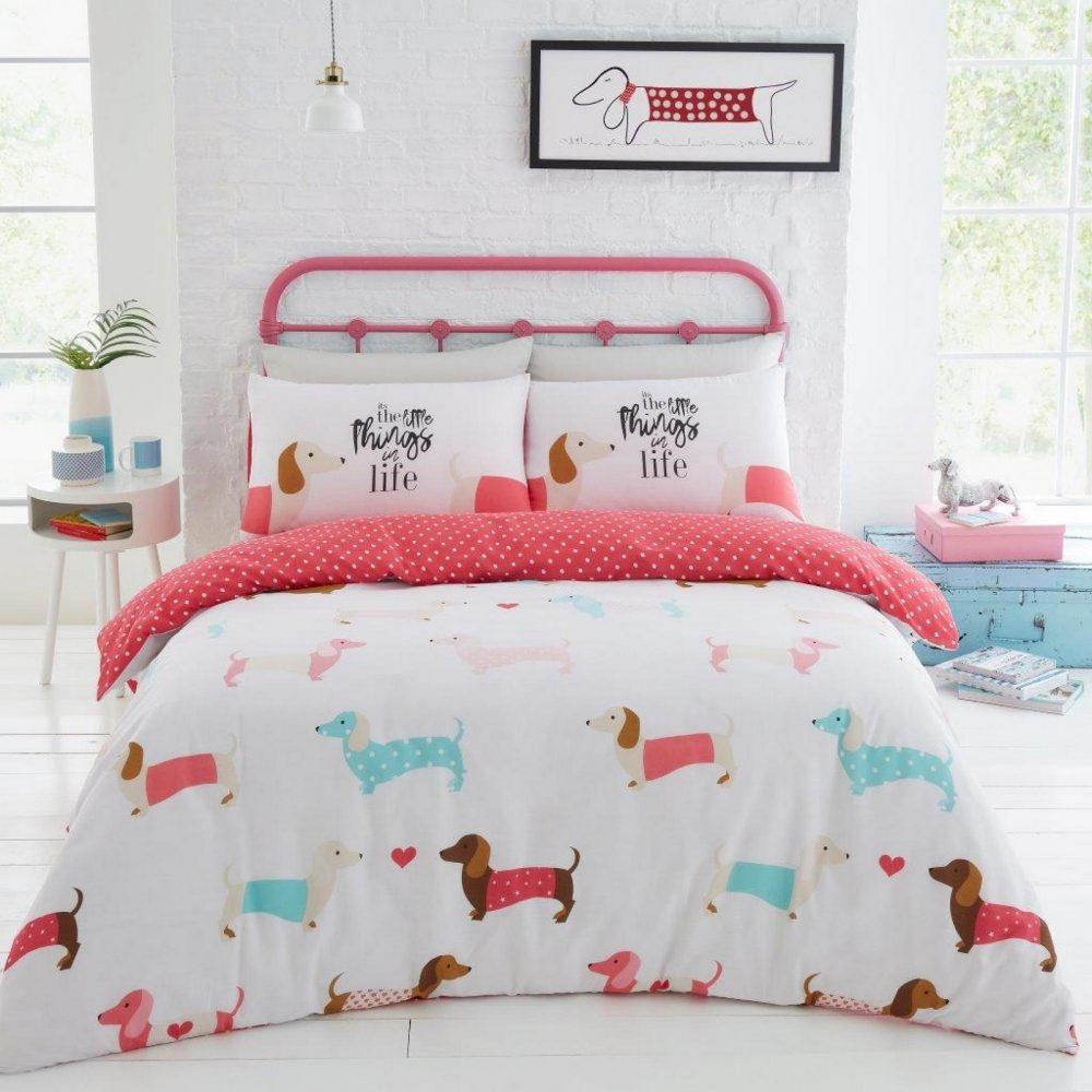 11357452 printed duvet set sausage dog double pink 1 1