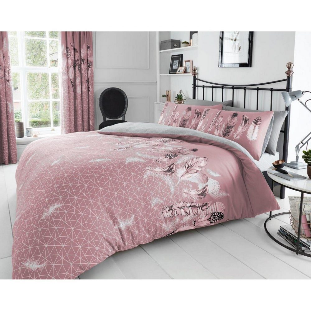 11357827 printed duvet set feathers double pink 1 1