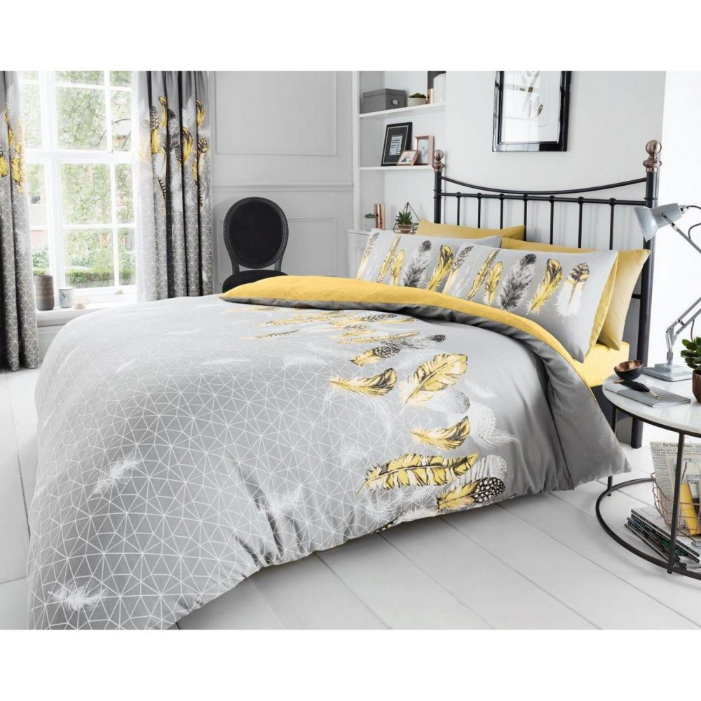 11357889 printed duvet set feathers double yellow 1 1