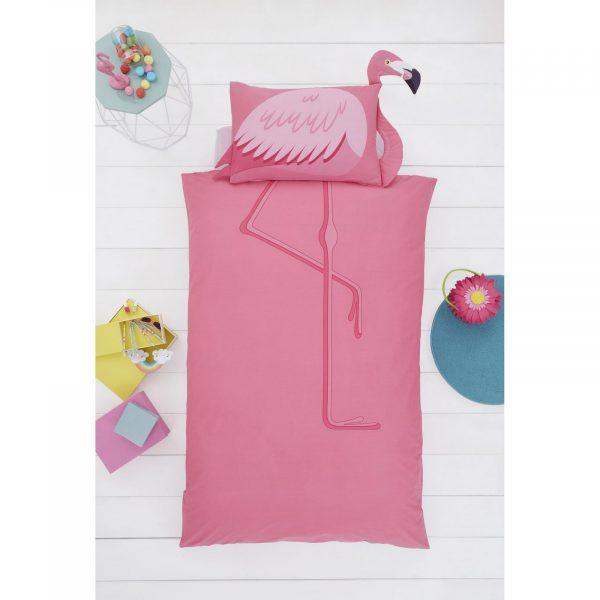 11357933 flamingo shaped duvet set single 1 2