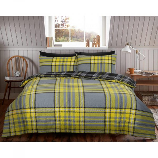 11358008 flannel duvet set tartan check double mustard 1 2