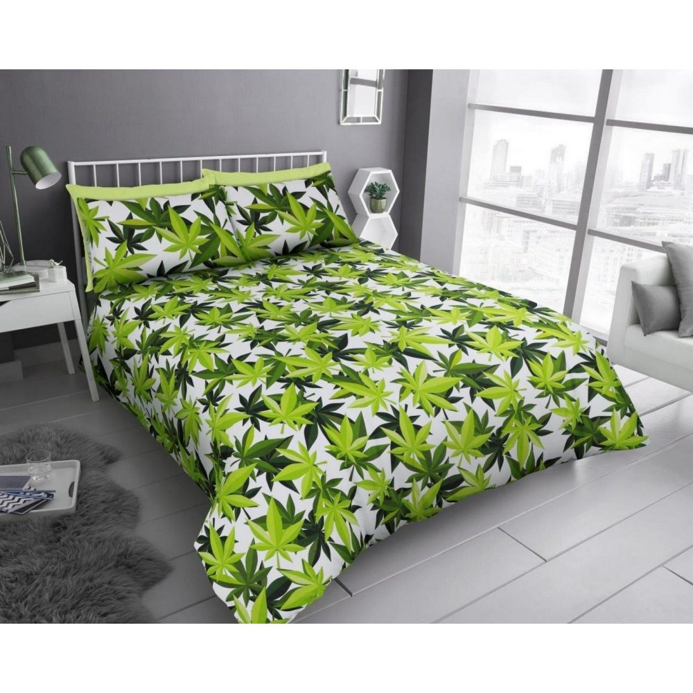 11358596 printed duvet set leaf double white green 1 1