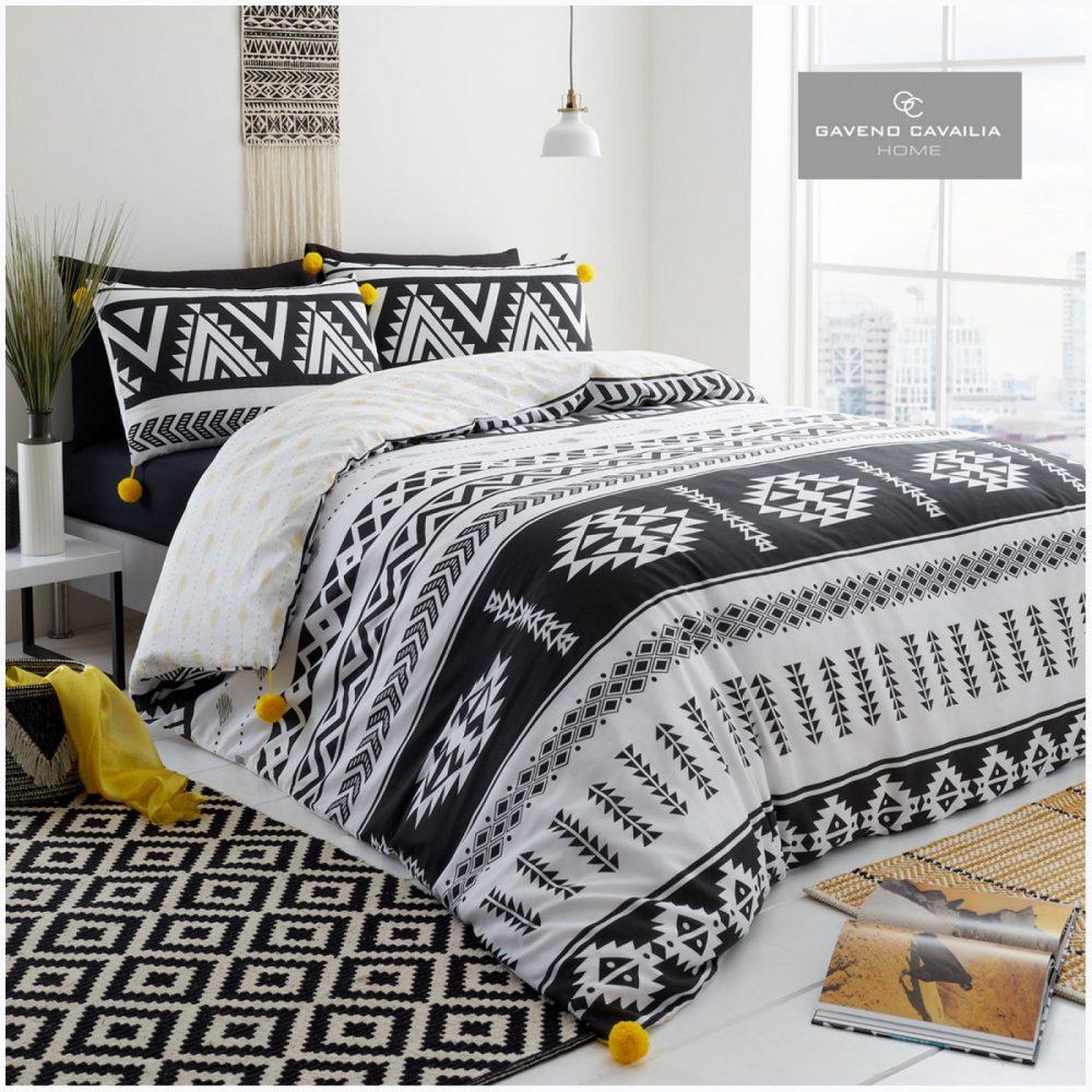11358879 gc home duvet set shiloh double white black 1 2