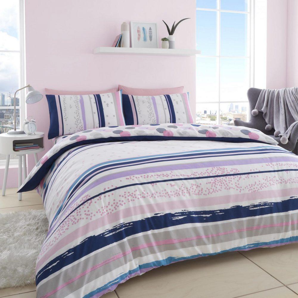 11360308 printed duvet set earle double pink 1 1