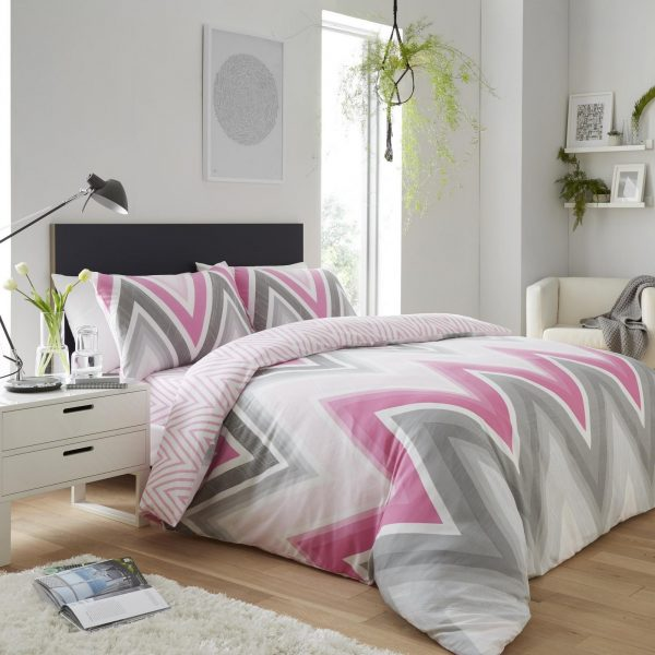 11361947 printed duvet set chevron double grey pink 1 2