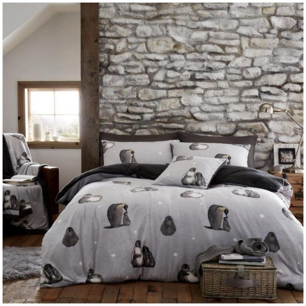 11366294 teddy penguin duvet set double grey 1 2