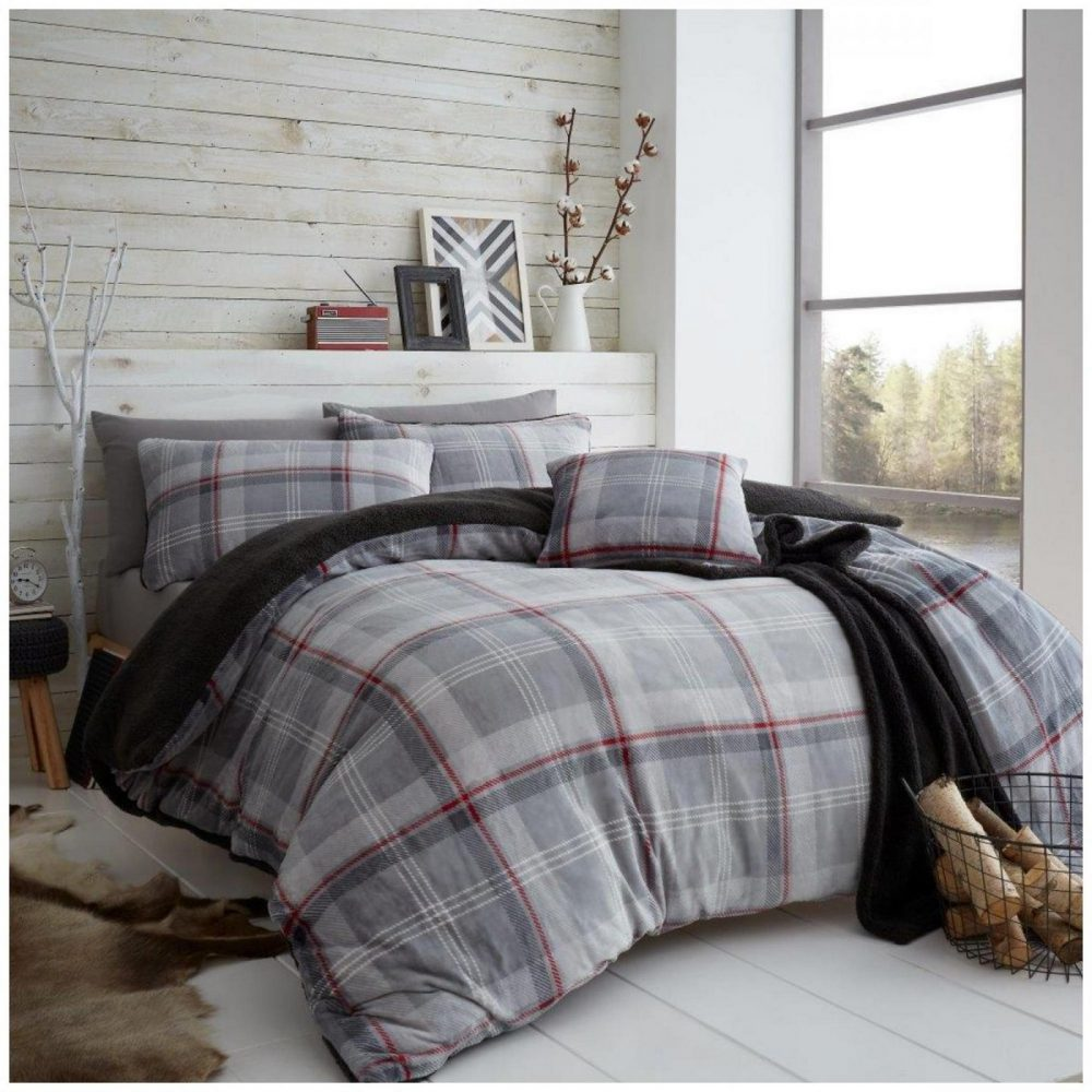 11366355 teddy duvet set lincoln check double grey red 1 2