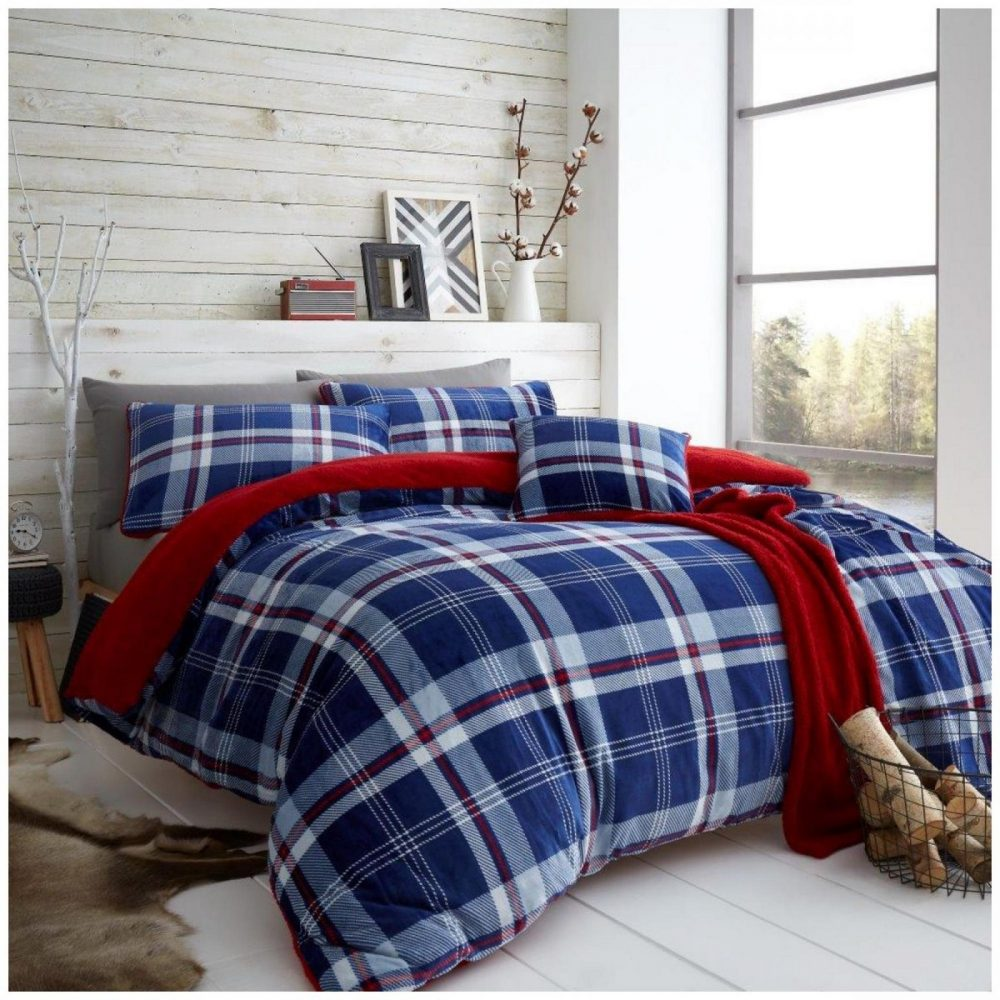 11366478 teddy duvet set lincoln check double navy red 1 1