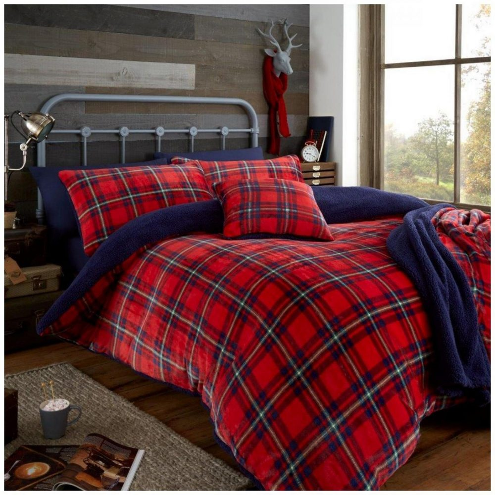 11366539 teddy duvet set highland check double red navy 1 1