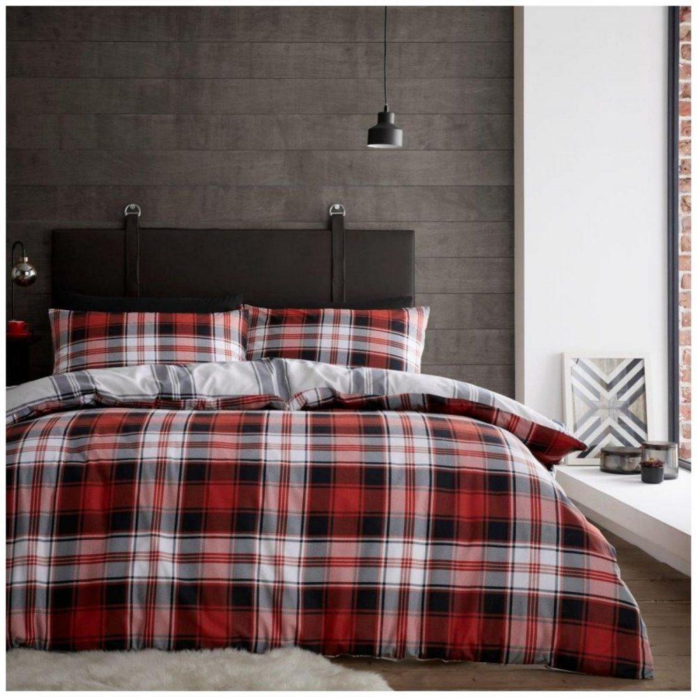 11367345 flannel duvet set scottish tartan check double charcoal red 1 2