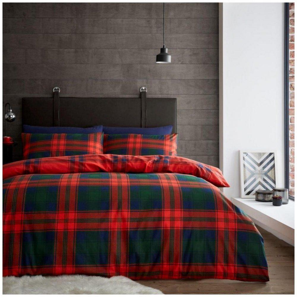 11367376 flannel duvet set scottish tartan check double navy red 1 3