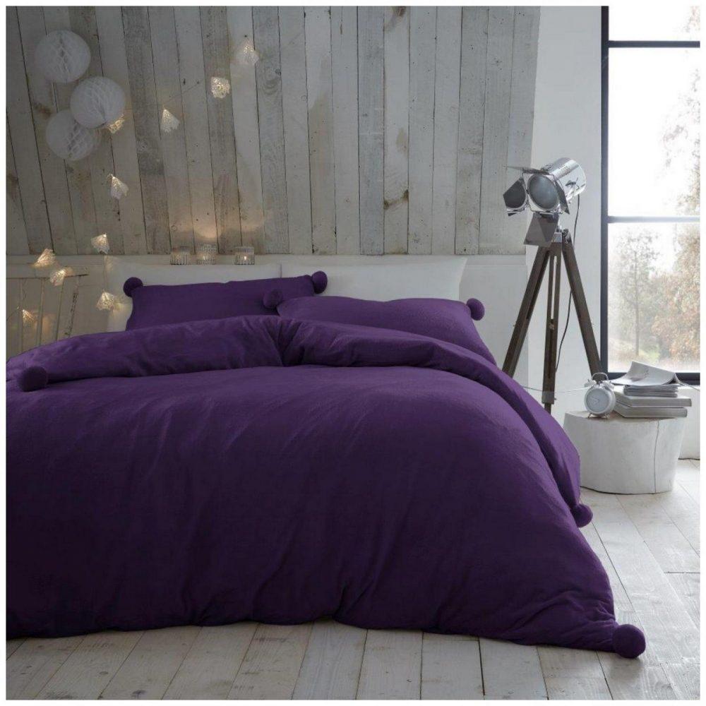 11369301 pom pom duvet set heather fleece double purple 1 2