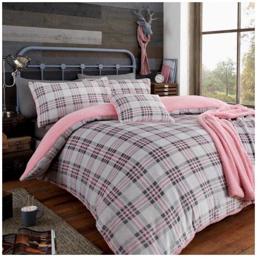 11369806 teddy duvet set highland check double grey pink 1 1