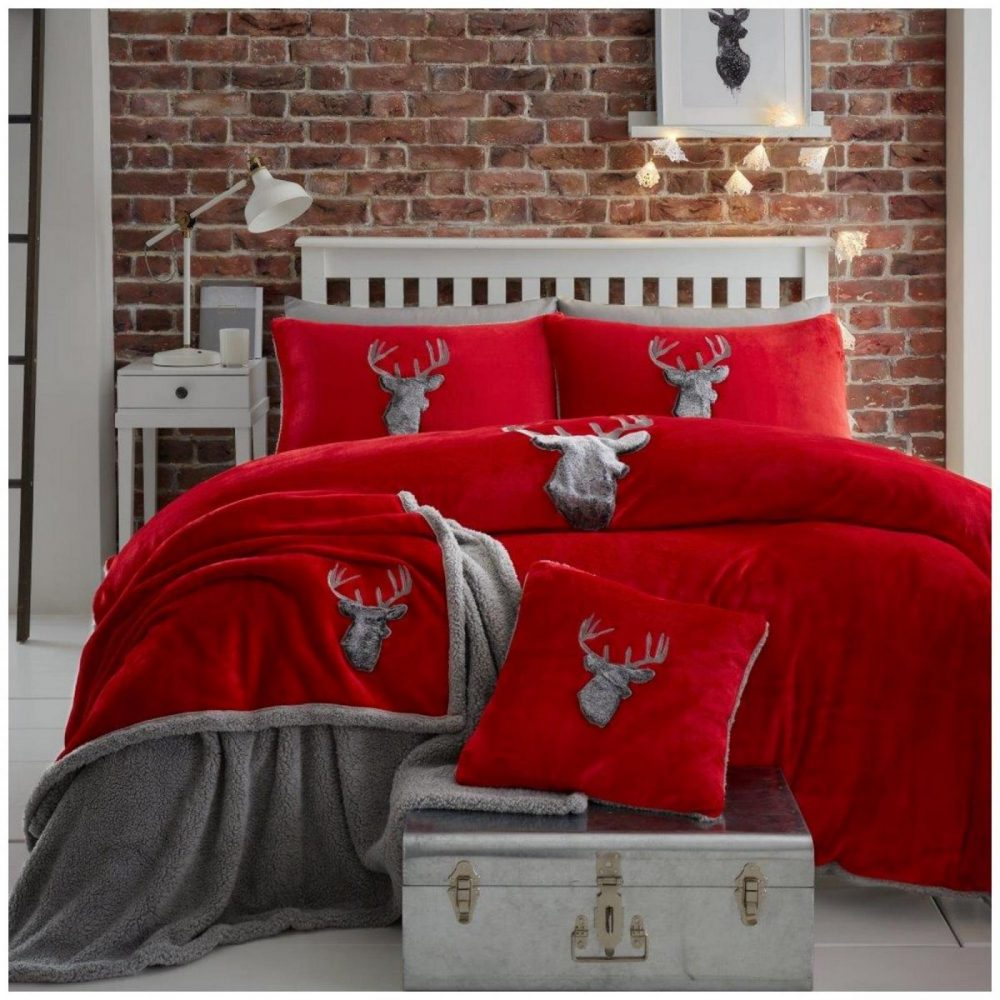 11370321 teddy duvet set stag head double red charcoal 1 1