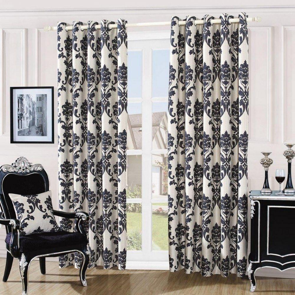 31087410 damask embossed curtains 66x72 cream black 1 3