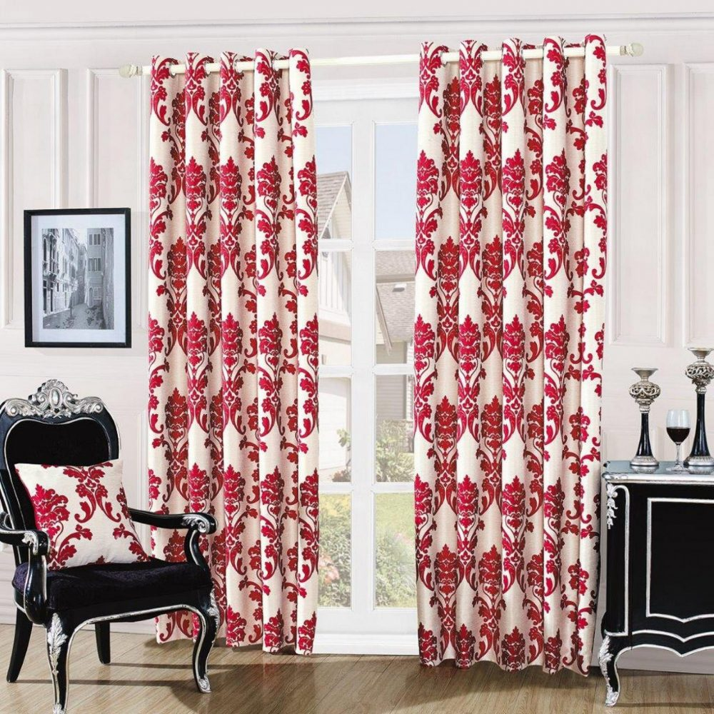 31087434 damask embossed curtains 66x72 red 1 3
