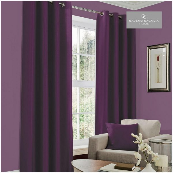 31094999 faux silk eyelet curtains 66x54 aubergine 1 2