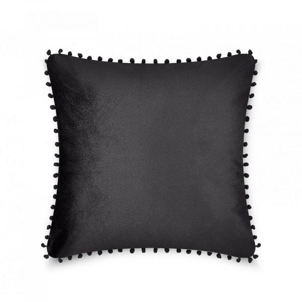 31159780 cushion cover pom pom 43x43 black 1 2
