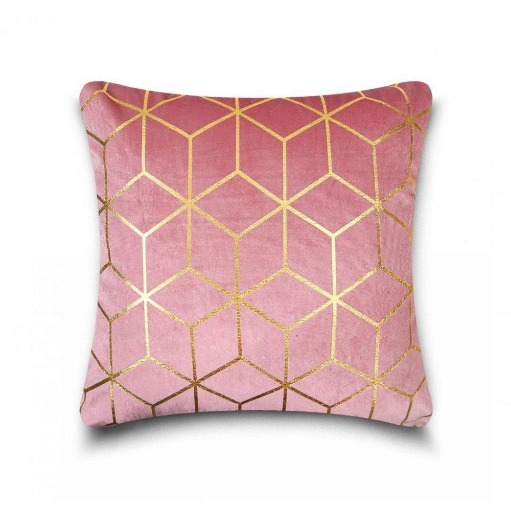 31159827 cushion cover metallic cube 43x43 pink gold 1 4