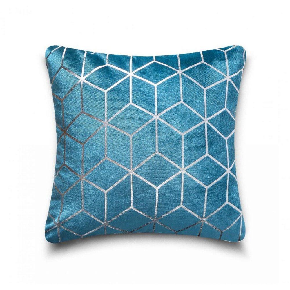 31159841 cushion cover metallic cube 43x43 teal silver 1 4