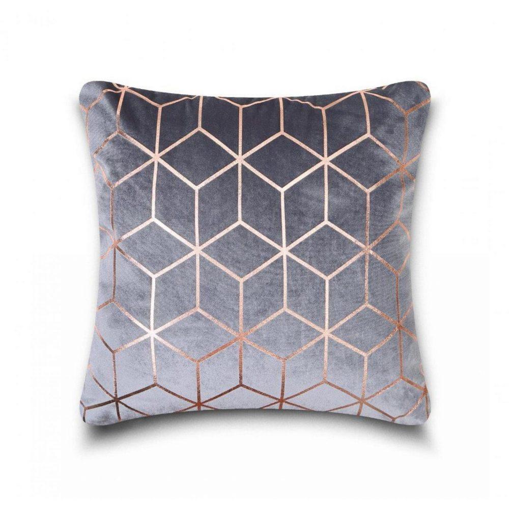 31159858 cushion cover metallic cube 43x43 charcoal rose 1 4