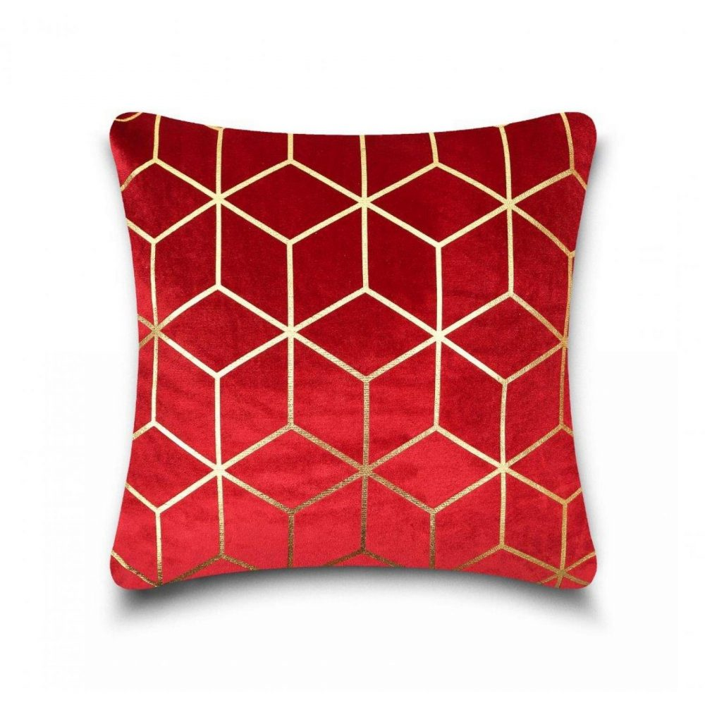 31159865 cushion cover metallic cube 43x43 red gold 1 4