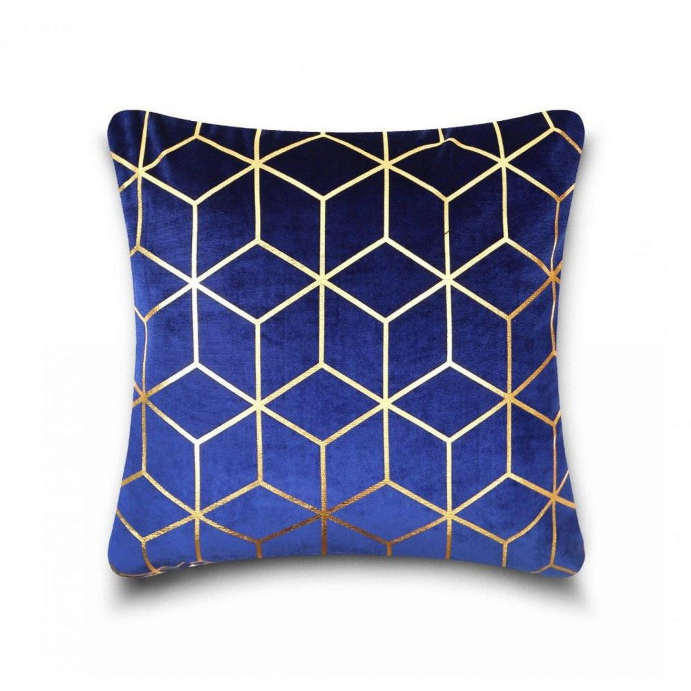 31159872 cushion cover metallic cube 43x43 blue gold 1 3